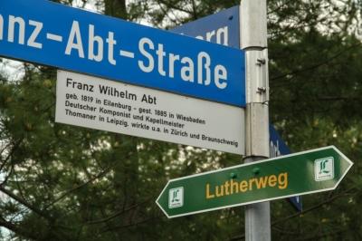 Der Lutherweg durch Eilenburg führt an der Franz-Abt-Straße vorbei.