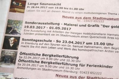 Ankündigung Vortrag in der Sonntagsschule des historischen Klassenzimmers Samuel Hahemann in Eilenburg