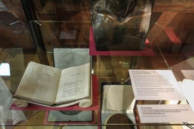 Ausstellung im Museum zu Eilenburg: Hinweis auf das Hochzeitslied von Johann W. v. Goethe